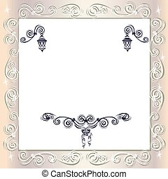Vintage wedding frame with lace ornaments