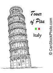 Leaning Tower of Pisa (Landmark of Italy) vector hand...