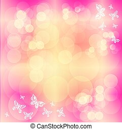 Pink background with butterfly