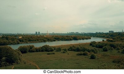 Aerial shot of the Moscow skyline as seen from Kolomenskoe...