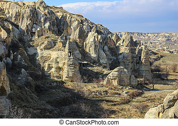 Rock formations at Cappadocia, Anatolia, Turkey - Beautiful...