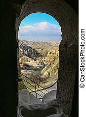 Inside looking out at Rock formations at Cappadocia,...