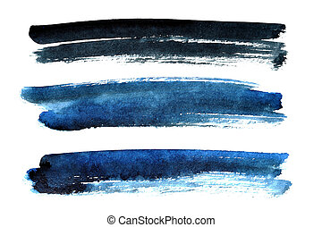 Black and blue brush strokes isolated on the white...