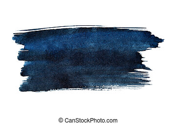 Blue brush stroke isolated on the white background. Space...