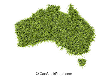 Australia map from green grass, 3D rendering isolated on...