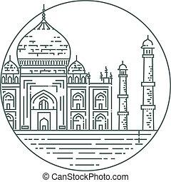 Outline Illustration of Taj Mahal Palace Icon - Taj mahal ,...