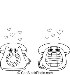 Desktop phones enamoured, contours - Isolated desktop...