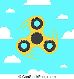 Spinner in a flat style. The yellow spinner turns against the blue sky. Flat, white clouds. A modern antistress toy for recreation. Play with your fingers
