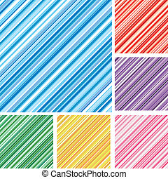 Set of abstract colorful backgrounds with strips, part 5, vector illustration