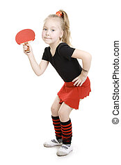 Little girl playing  ping-pong.