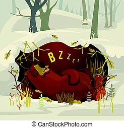 Happy smiling bear character mascot sleeping and resting in...