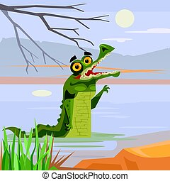 Happy smiling crocodile alligator characters looking out of water. Vector flat cartoon illustration