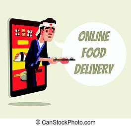 Online delivery food isolated. Chef character looking out of...