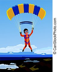 Sky diving happy smiling sportsman jump and fly with open parachute. Vector flat cartoon illustration