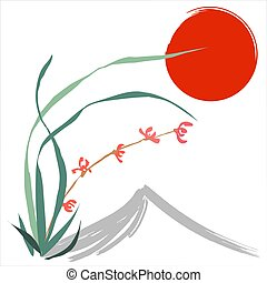 Hand-drawing ink illustration. Wild orchid. Japanese painting style sumi-e. Traditional Chinese painting gohua. Vector
