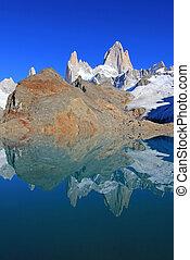 Beautiful reflection of Mt Fitz Roy, Laguna de Los Tres in Los Glaciares National Park, Patagonia, Argentina