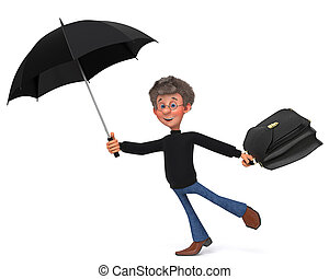 3d illustration funny student in glasses with umbrella