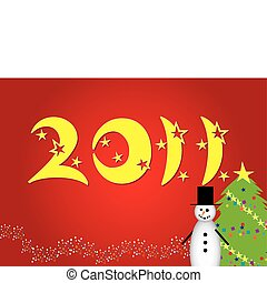 Funny cartoon christmas card with snowman and snow tree and 2011 ttext and place wor text on red background, vector illustration