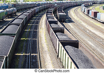 rail cars loaded with coal. - rail cars loaded with coal, a...