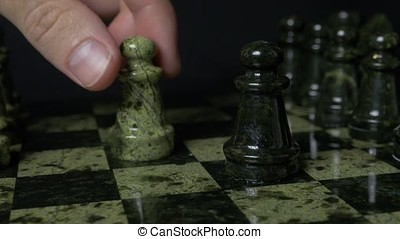 Wooden chess white pawn defeated black pawn HD