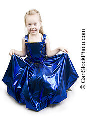Blue curtsy Princess - Little girl dressed as a pretty blue...