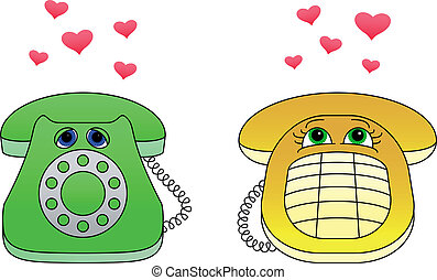 Desktop phones-enamoured - Isolated desktop phones,...