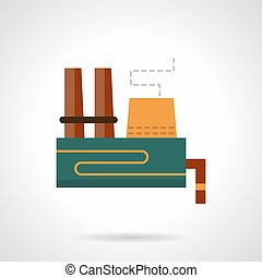 Heavy industry plant flat color vector icon - Abstract...