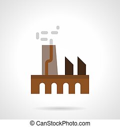 Manufacturing factory flat color vector icon - Abstract...