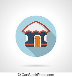 Blue beach hut flat round vector icon - Abstract symbol of...