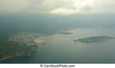 View from the airplane on Montenegro.