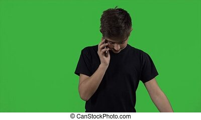 Says the guy on the phone on a green background