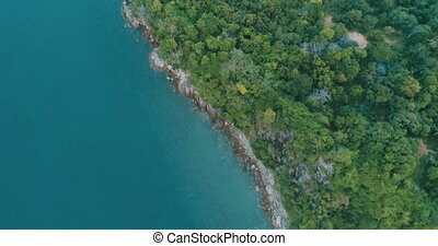 Aerial view of the tropical island and sea - Top view drone...