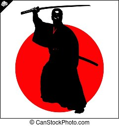 Martial arts. Kendo samurai katana fighter scene.