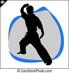Martial arts. Karate fighter kata scene. - Fighting combat...