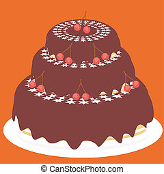 cake with chocolate and cherry
