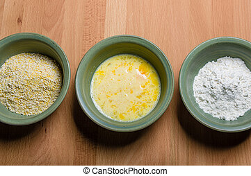 Ingredients for cornmeal dredge for frying vegetables
