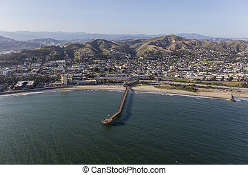 Aerial of Ventura Coast and Pier in Southern California