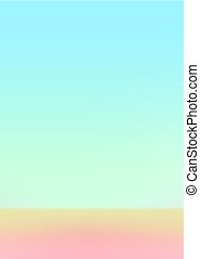 Holographic gradient sky blue and orange paper background -...