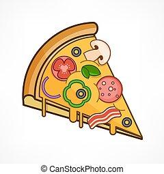 Pizza slice on white