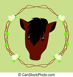 Brown Horse Vector - brown horse, with floral wreath...