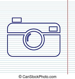Digital photo camera sign. Vector. Navy line icon on...