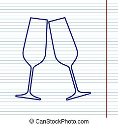 Sparkling champagne glasses. Vector. Navy line icon on notebook paper as background with red line for field.