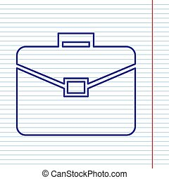 Briefcase sign illustration. Vector. Navy line icon on notebook paper as background with red line for field.