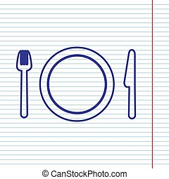 Fork, plate and knife. Vector. Navy line icon on notebook paper as background with red line for field.