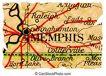 Memphis old map - Memphis, Tennessee on an old torn map from...