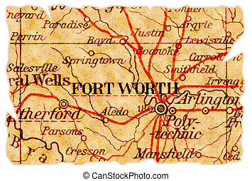 Fort Worth old map - Fort Worth, Texas on an old torn map...