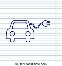 Eco electric car sign. Vector. Navy line icon on notebook paper as background with red line for field.