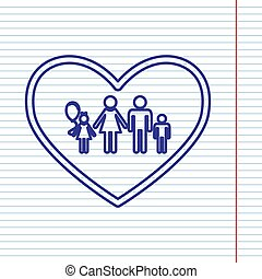 Family sign illustration in heart shape. Vector. Navy line icon on notebook paper as background with red line for field.