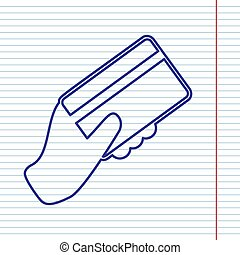 Hand holding a credit card. Vector. Navy line icon on notebook paper as background with red line for field.