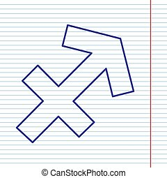 Sagittarius sign illustration. Vector. Navy line icon on notebook paper as background with red line for field.